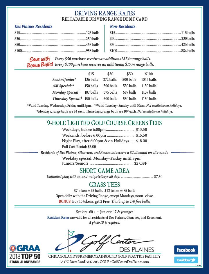 Golf Center Rates