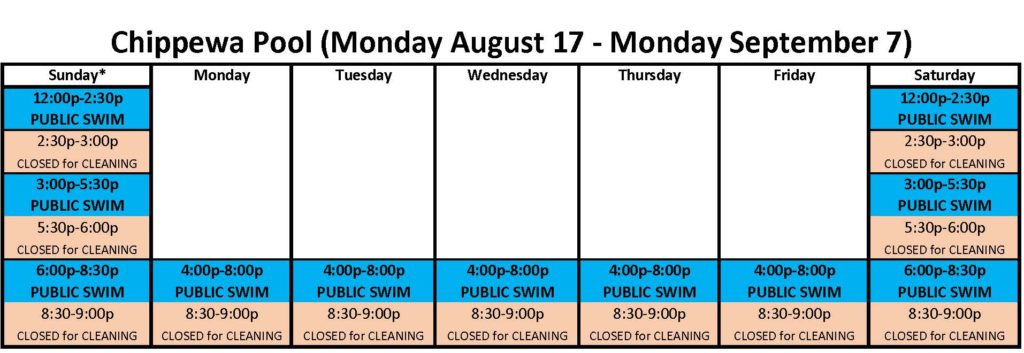Chippewa & Iroquois Pools Swim Times for August 17 through September 7 2020