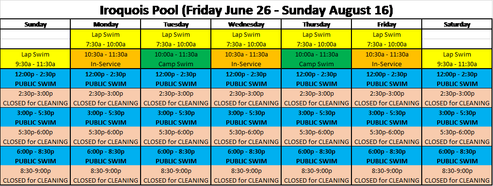 Chippewa & Iroquois Pools Swim Times for June 26 through August 16 2020