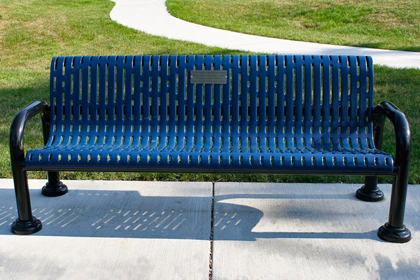 Memorial Bench at Centennial Park, courtesy of State Representative Mary Moylan. Memorial Trees and Benches Program.