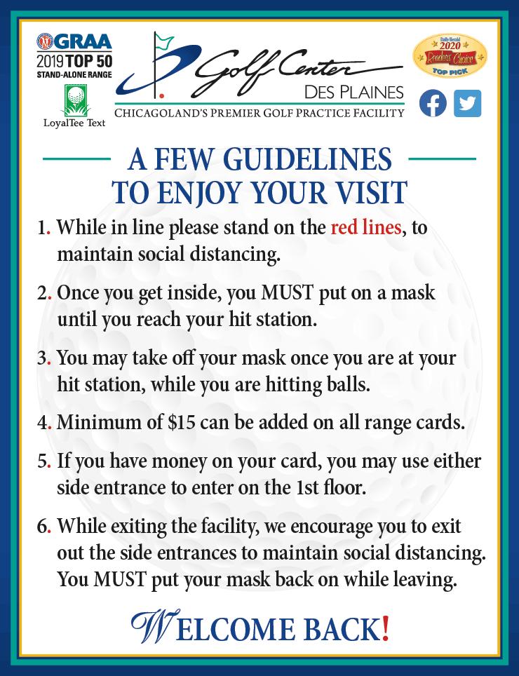 Phase 4 Golf Guidelines for the Golf Center Driving Range