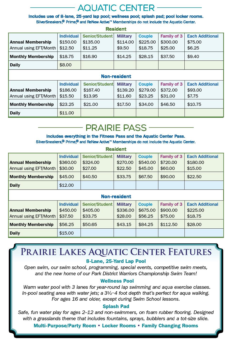 Prairie Lakes Aquatic Center Memberships