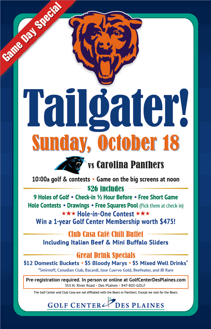 Bears vs Panthers Tailgate Party October 18