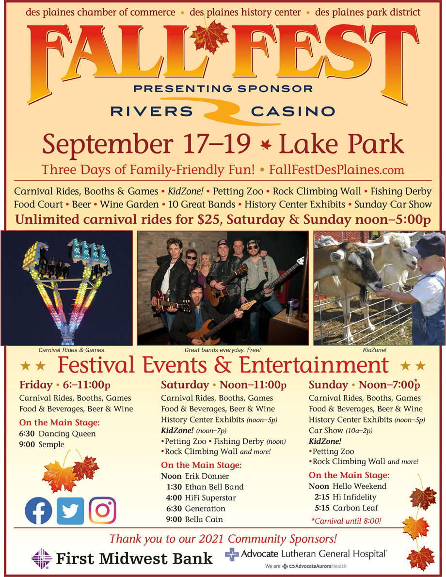 Fall Fest 2021 is September 17–19 in Lakes park, Des Plaines IL