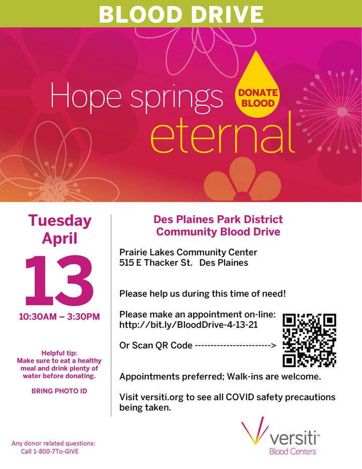 Blood Drive at Prairie Lakes Community Center April 13, 2021