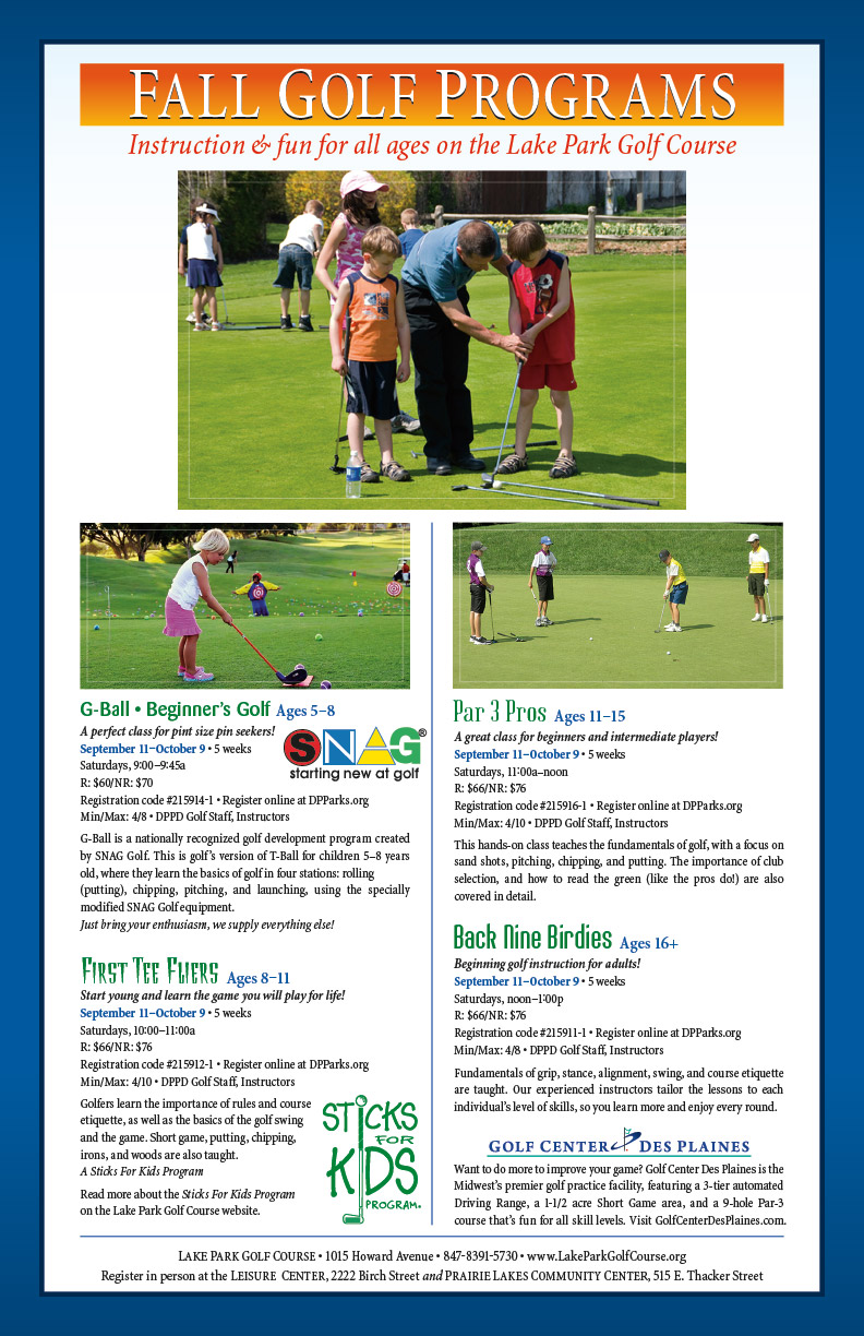 Fall Golf Programs at the Lake Park Golf Course